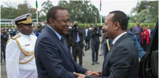 President Uhuru Kenyatta of Kenya and Prime Minister of Ethiopia, Dr. Abiy Ahmed. Credit: Courtesy Ethiopian Embassy, Kenya