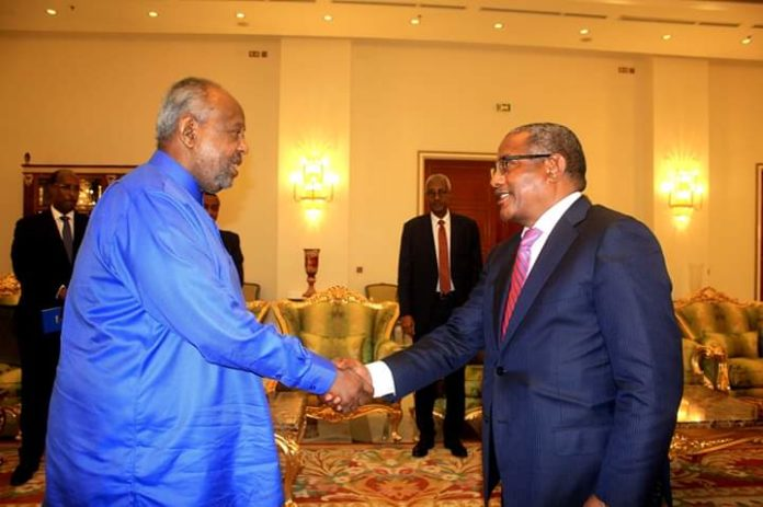 Ethiopian Minister for Foreign Affairs,  Gedu Andargachewu held talks with President Ismael Omar Guelleh of Djibouti today (May 28) at the president's palace.