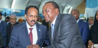 President Uhuru Kenyatta with Somali President Mohamed Abdullahi Farmaajo, during his inauguration ceremony in Mogadishu