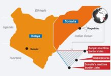 The area in the Kenya-Somalia maritime border dispute forms a triangle east of the Kenya coast. Ethiopia Prime Minister Abiy Ahmed has stepped up efforts to have the row resolved without worsening the fragile diplomatic ties in the Horn of Africa. GRAPHIC | NATION MEDIA GROUP