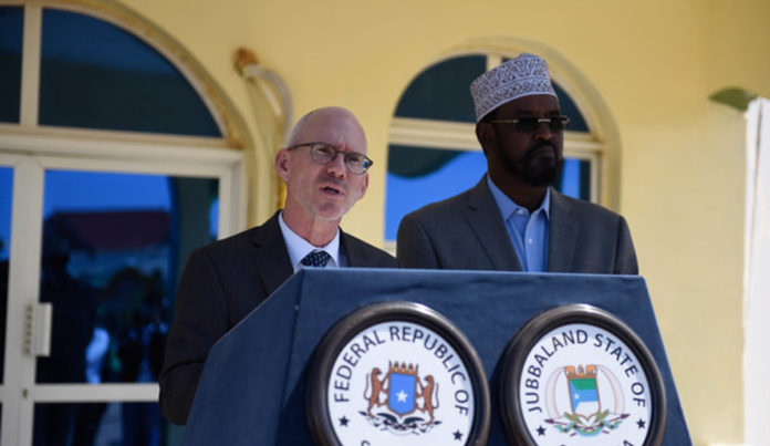 The UN Secretary-General's Special Representative for Somalia, James Swan addresses a joint press conference together with the Jubbaland President Ahmed Mohamed Islam (Madobe) at the end of their meeting in Kismayo, Jubbaland on 15 July 2019. UN Photo/Abdikarim Mohamed.