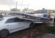 Billboards in the streets fall damaging vehicles in the capital Hargeisa