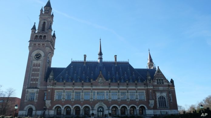 FILE - The Peace Palace, home of the International Court of Justice, in the Hague, Netherlands, Feb. 25, 2019.