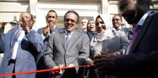 Somalia's President Mohamed Abdilahi Farmajo cuts ribbon the new building of Somalia embassy in Washington DC