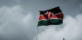 Kenya's national flag flies in Nairobi. Photographer: YASUYOSHI CHIBA/AFP