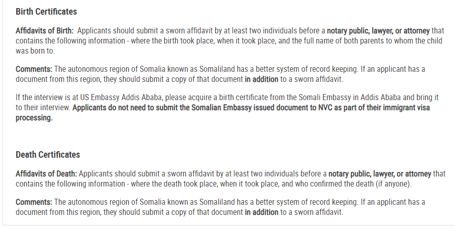 US Considers Somaliland a better system of record keeping than Somalia