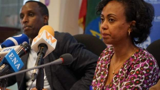 Dr Lia Tadesse (R) spoke to reporters about the cases earlier
