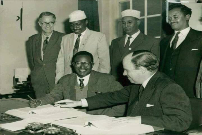 The Somaliland Protectorate Constitutional Conference, London, May 1960 in which it was decide that 26 June be the day of Independence, and so signed on 12 May 1960. Somaliland Delegation: Mohamed Haji Ibrahim Egal, Ahmed Haji Dualeh, Ali Garad Jama& Haji Ibrahim Nur. From the Colonial Office: Ian Macleod, D. B. Hall, H. C. F. Wilks (Secretary)