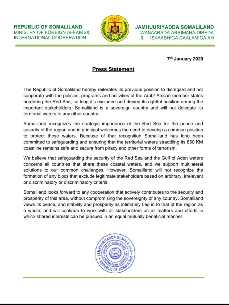 Somaliland dismisses The establishment of Red Sea, Gulf of Aden council