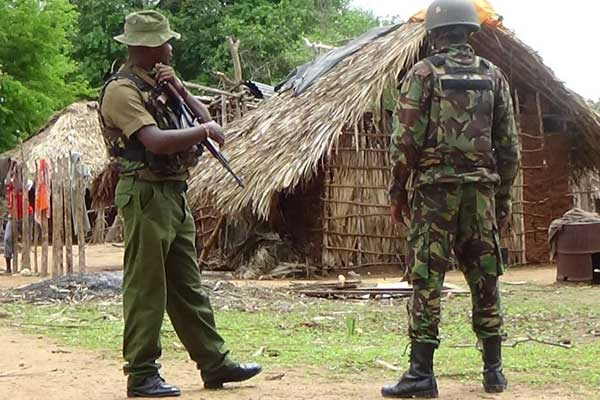 KDF soldiers on guard in Pandanguo Village in Lamu, at the Kenyan coast. Security agencies have repulsed heavily armed Al-Shabaab militants who attempted to attack Pandanguo village in Lamu. PHOTO | ATHMAN OMAR | NATION MEDIA GROUP
