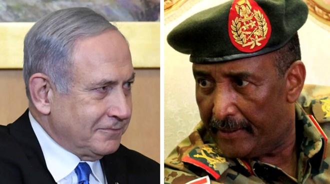 Collage of Israeli PM Benjamin Netanyahu, Jerusalem, January 23, 2020 and Sudan's Abdel Fatah al-Burhan, Khartoum, August 17, 2019 Kobi Gideon/GPO // Mohamed Nureldin Abdallah/Reuters