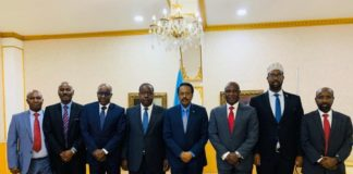 Kenyan Interior Cabinet Secretary Fred Matiang'i (fourth from left) and Somali President Mohamed Farmaajo (fourth from right) pose for a photo with a delegation of Kenyan and Somali officials. PHOTO: COURTESY