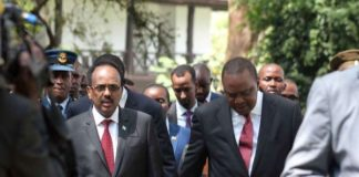 President Uhuru Kenyatta with his Somalia counterpart Mohamed Abdullahi Farmajo after the National Prayer Breakfast at Safari Park hotel in Nairobi on May 31, 2018. PHOTO   DENNIS ONSONGO   NATION MEDIA GROUP