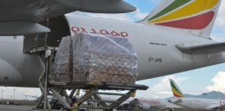 Airport workers offload a consignment of medical supplies from an Ethiopian Airlines cargo flight at Bole International Airport in Addis Ababa, capital of Ethiopia, April 27, 2020. (Xinhua/Michael Tewelde)