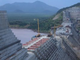 FILE PHOTO: Ethiopia's Grand Renaissance Dam is seen as it undergoes construction work on the river Nile in Guba Woreda, Benishangul Gumuz Region, Ethiopia. REUTERS/Tiksa Negeri/File Photo
