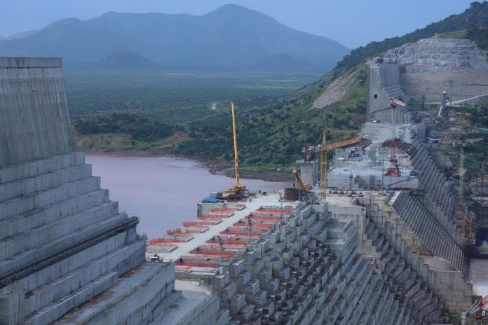 FILE PHOTO: Ethiopia's Grand Renaissance Dam is seen as it undergoes construction work on the river Nile in Guba Woreda, Benishangul Gumuz Region, Ethiopia. REUTERS/Tiksa Negeri/File Photo