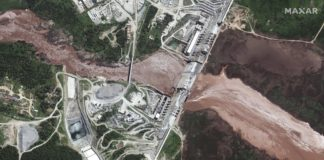 The Grand Ethiopian Renaissance Dam on the Blue Nile river in Ethiopia, seen in a satellite image taken June 26 Source: Maxar Technologies via AP Photo