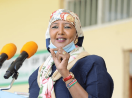 Sports Cabinet Secretary Amina Mohamed at a past event. PHOTO| COURTESY