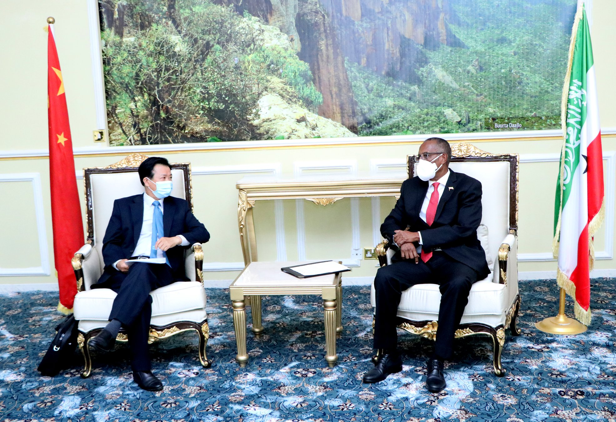 Image: Somaliland president Muse Bihi (righ) received in his office Chinese Ambassador (left) for FOCAC, Zhou Yuxiao on Aug 7, 2020, Hargeisa (Source: Somaliland MFA)