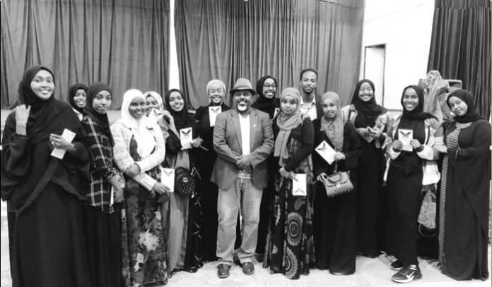Silhaam's first group of trainees. She is standing fourth from the right. Director of the Cultural Centre, Dr. Jama Muse Jama, centre.
