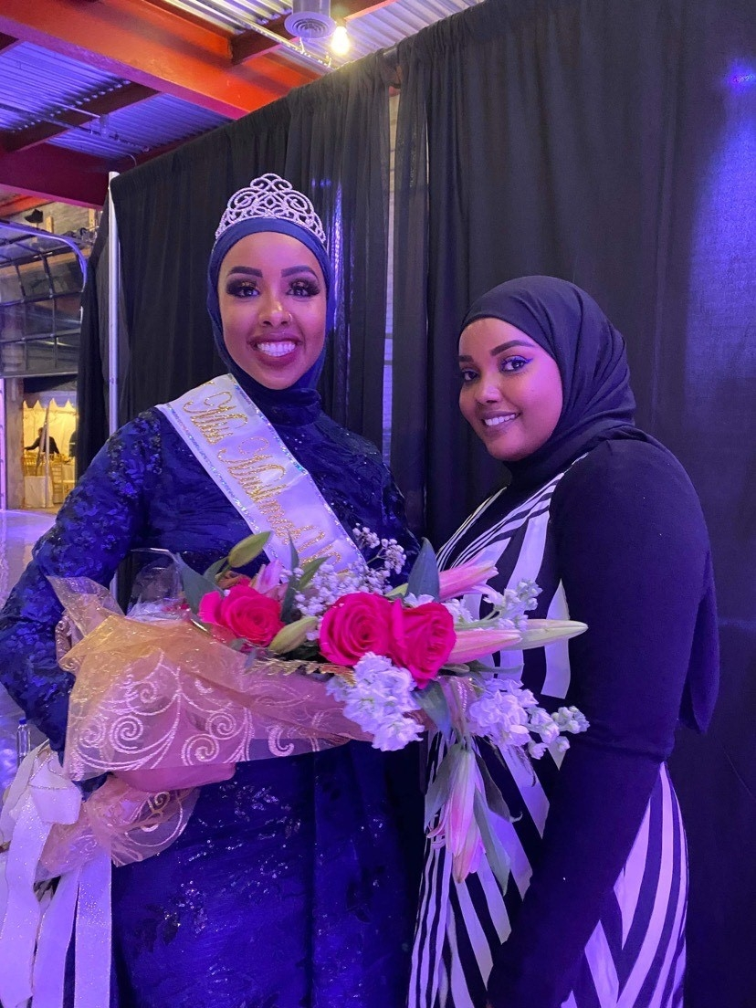 Abukar wore a blue gown as her special occasion outfit