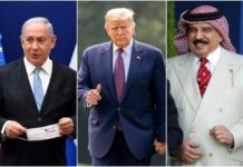 Photo collage: Prime Minister Benjamin Netanyahu (L) at a press conference about the Israeli-UAE peace accords, in Jerusalem on August 30, 2020. US President Donald Trump arrive on the South Lawn of the White House on September 11, 2020. Bahrain's King Hamad bin Isa Al Khalifa at the Royal Windsor Horse Show in Windsor, England on May 10, 2019. (Andrew Matthews, Andrew Harnik, Debbie Hill/AP)