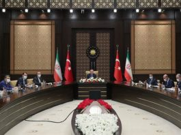 President Recep Tayyip Erdoğan and his Iranian counterpart Hassan Rouhani join Iran-Turkey High Level Strategy Cooperation Council discussions via video conference photo credit Turkish presidency