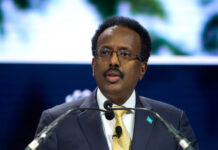 NEW YORK, NEW YORK - SEPTEMBER 23: President of Somalia Mohamed Abdullahi Mohamed speaks onstage during the 2019 Concordia Annual Summit - Day 1 at Grand Hyatt New York on September 23, 2019 in New York City. Riccardo Savi/Getty Images for Concordia Summit/AFP