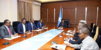 Somalia President Mohamed Abdullahi Farmaajo (centre) presides the National Consultative Forum in Villa Somalia, Mogadishu on October 1, 2020. PHOTO   VILLA SOMALIA