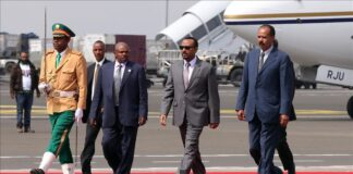 Eritrean President Isaias Afewerki (R) is being welcomed by Ethiopian Prime Minister Abiy Ahmed (2nd R) at the Addis Ababa Bole International Airport ( FILE PHOTO - Anadolu Agency )