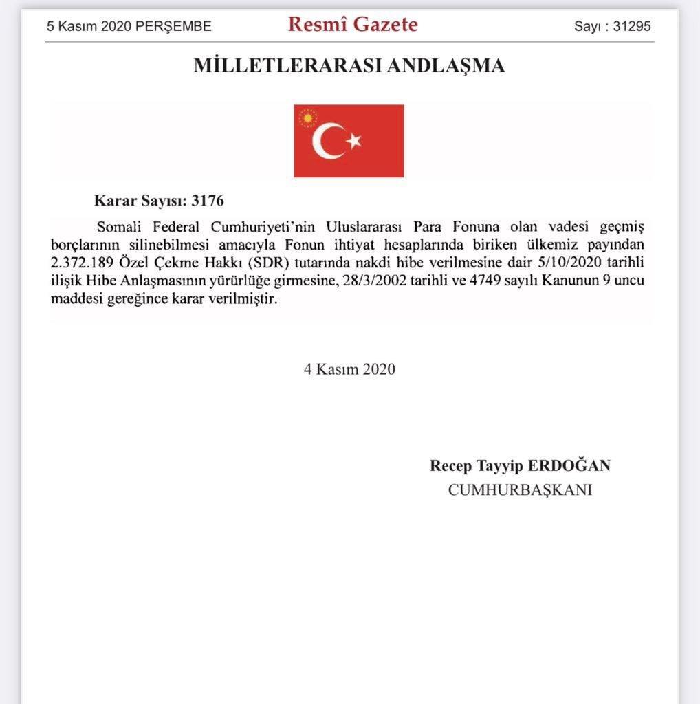 Turkey pays Somalia's overdue debt of $2.72 million of SDR to the IMF