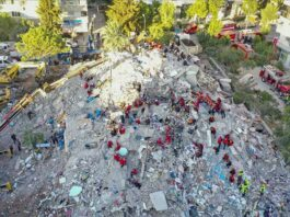 File Photo - A drone photo shows search and rescue works continuing for survivors of the collapsed Emrah Apartment after a magnitude 6.6 quake shook Turkey's Aegean Sea coast, in Izmir, Turkey on October 31, 2020. ( Ahmet Bayram - Anadolu Agency )