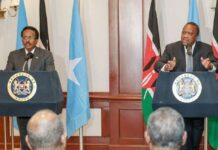 Somali President Mohamed Farmaajo and Kenyan President Uhuru Kenyatta at a past press conference in Nairobi. PHOTO | FILE | NMG