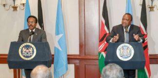 Somali President Mohamed Farmaajo and Kenyan President Uhuru Kenyatta at a past press conference in Nairobi. PHOTO | FILE | NMG