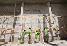 Construction workers take part in the renovation project of Somalia's National Theatre in Mogadishu, Somalia Feb. 3, 2019. (Reuters File Photo)