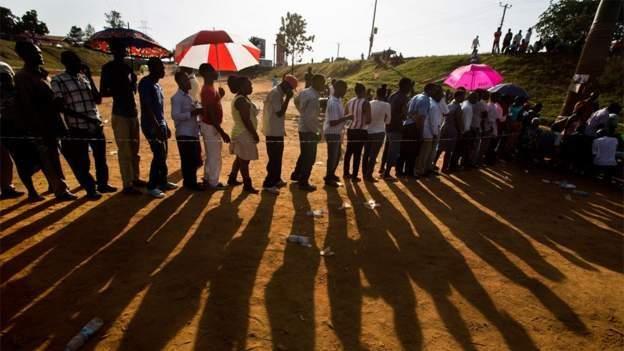 Uganda elections: Queues at polling stations