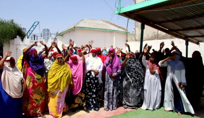 Nafisa and a group of women from civil society organizations protesting October 14, 2020 against the rape and murder of Ugbaad Ali in Burao
