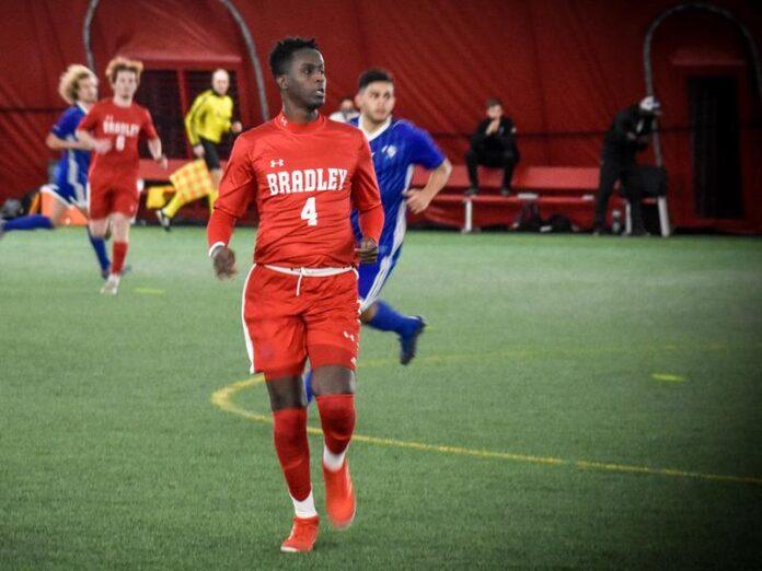 Bradley soccer player Saadiq Mohammed plays during a game this season against Eastern Illinois. Josh Schwarn, Bradley Athletics