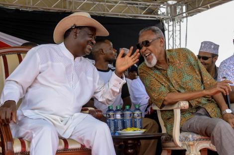 Raila Odinga and BBI taskforce head Yusuf Haji enjoy a hearty moment during the BBI Garissa rally on February 23, 2020. PHOTO:TWITTER