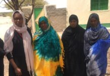 Nimco Ali (left) is pictured with women in Hargeisa, Somaliland, May 2019. Photo by The Five Foundation