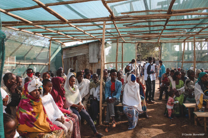 Waiting area of MSF's clinic at Primary School IDP site, Shire. (12.2.2021)