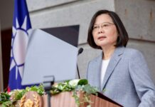Taiwan's President Tsai Ing-wen speaking at the Taipei Guest House as part of her inauguration for her second term in office, Taipei, Taiwan, May 20, 2020. (AFP Photo)
