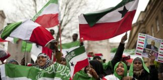 UK-based Somalilanders waving the self-declared republic's flag at a rally near Downing Street in London, United Kingdom, in 2012. Ben Stansall / AFP / Getty