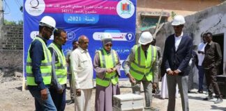 Officials at the foundation stone-laying ceremony.