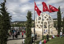 People visit the July 15 Martyrs' Monument on Democracy and National Unity Day, held to mark the fourth anniversary of the July 15, 2016 coup attempt orchestrated by the Gülenist Terror Group, Istanbul, Turkey, July 15, 2020. (Getty Images)