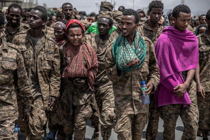 Captured Ethiopian government soldiers on Friday.Credit...Finbarr O'Reilly for The New York Times