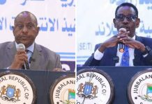 Abdullahi Sheikh Ismail Fartaag (left) and Ilyas Bedel Gabbose from Jubbaland have been elected senators of Somalia's 11th Parliament. PHOTOS | COURTESY | JUBBALAND STATE HOUSE