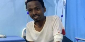 Somali journalist Hanad Ali Guled is seen after being beaten and attacked with a knife on June 23, 2021. (Photo: Somali Journalists Syndicate)
