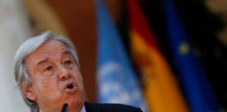 U.N. Secretary-General Antonio Guterres speaks during a news conference before a meeting with Spain's Prime Minister Pedro Sanchez at Moncloa Palace in Madrid, Spain, July 2, 2021. REUTERS/Susana Vera