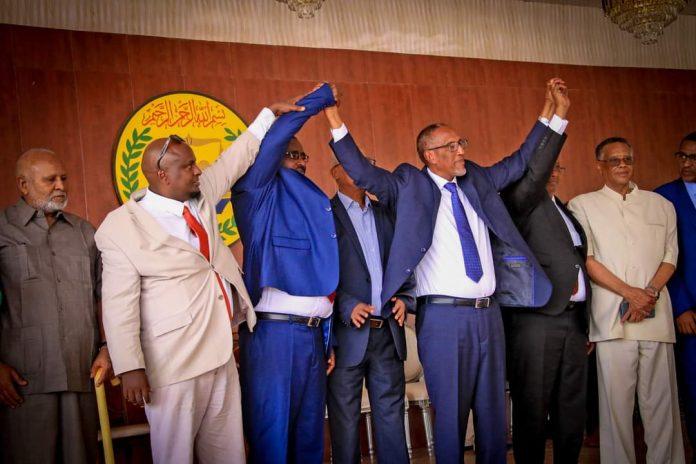 Somaliland president Muse Bihi Abdi and New parliament speaker Abdirirsak khalif ahmed
